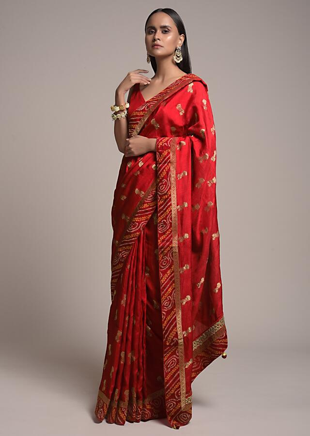 Fiery Red Saree In Dola Silk With Brocade Floral Buttis And Bandhani Border Online - Kalki Fashion