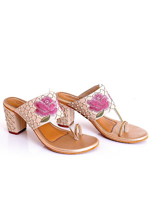 Fiona Cream Block Heels With Blush Pink Embroidered Flowers And Gold Jaal Of Beads And Zari By Sole House
