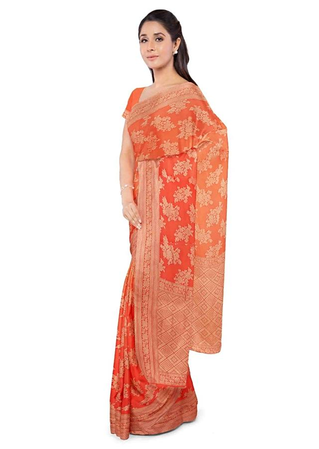 Fire Orange Banarasi Saree In Chiffon With Ombre Effect And Matching Blouse Piece Online - Kalki Fashion