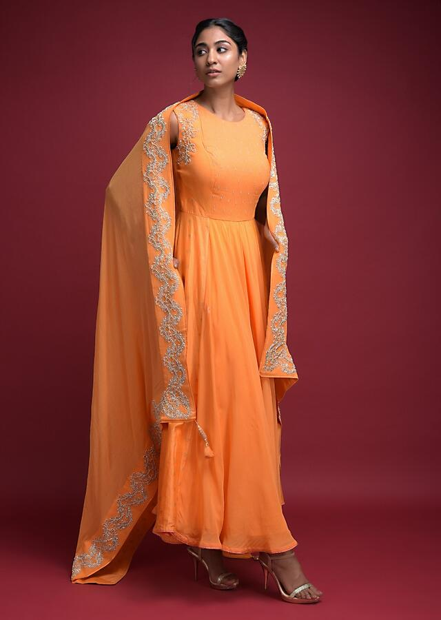 Fire Yellow Anarkali Suit In Georgette With Zardozi Work And Foil Printed Buttis Online - Kalki Fashion