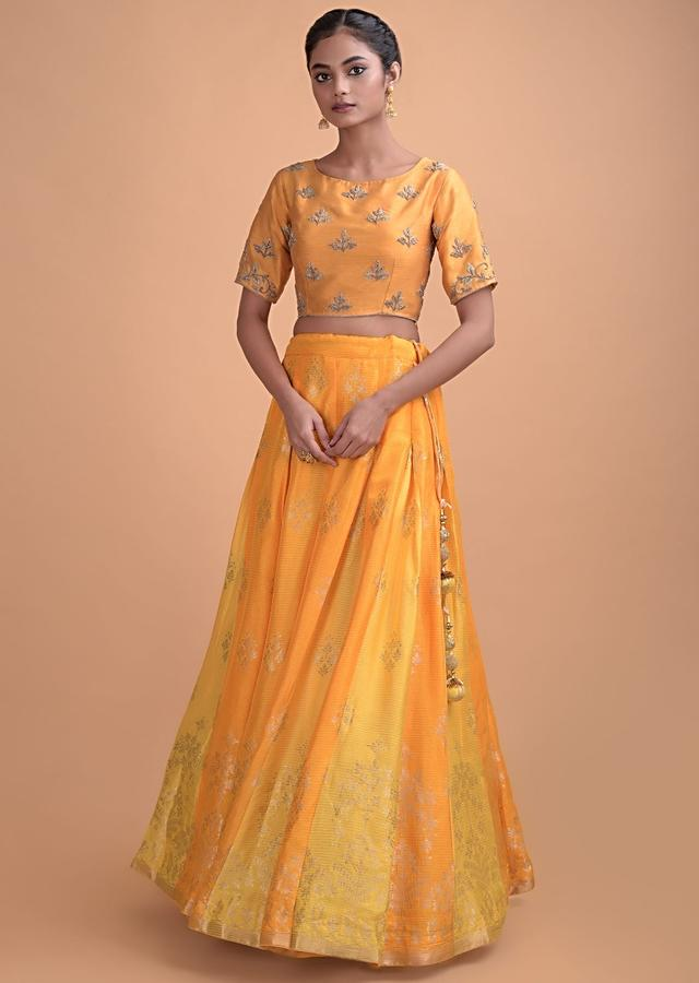 Fire Yellow Lehenga In Brocade Silk With Butter Yellow Godets Online - Kalki Fashion