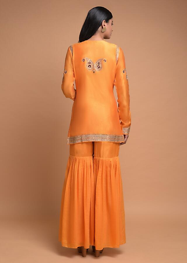 Fire Yellow Sharara Suit In Cotton With  Embroidered Floral And Paisley Motifs Online - Kalki Fashion