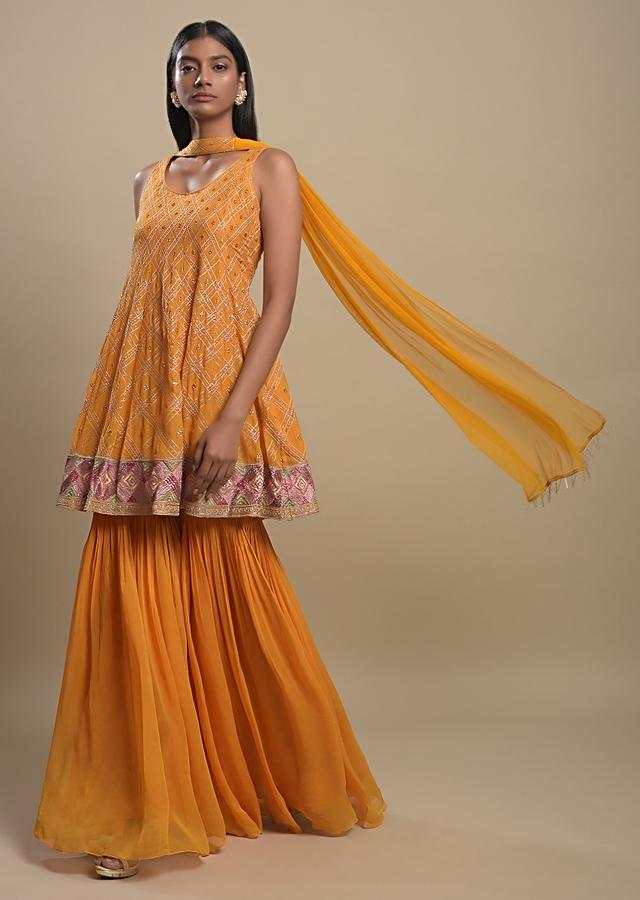 Fire Yellow Sharara Suit In Georgette With Resham And Zari Embroidered Checks Pattern Online - Kalki Fashion
