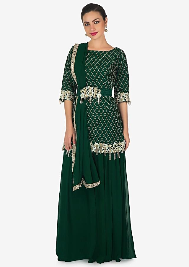 Bottle Green Palazzo Suit Beautified In Resham And Embroidered Tassels Online - Kalki Fashion
