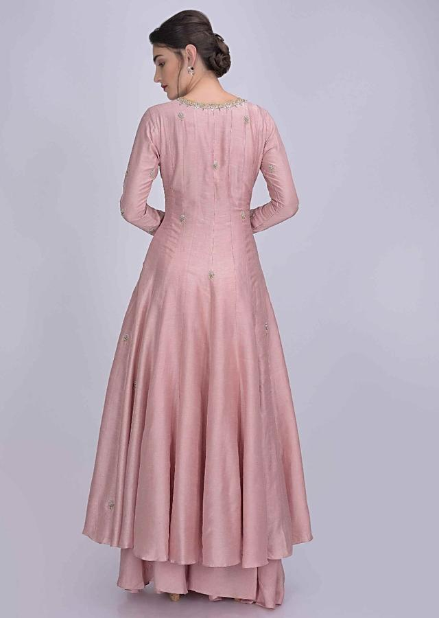 Flamingo Pink Anarkali Suit In Cotton Silk With Flared Palazzo Bottoms only on kalki
