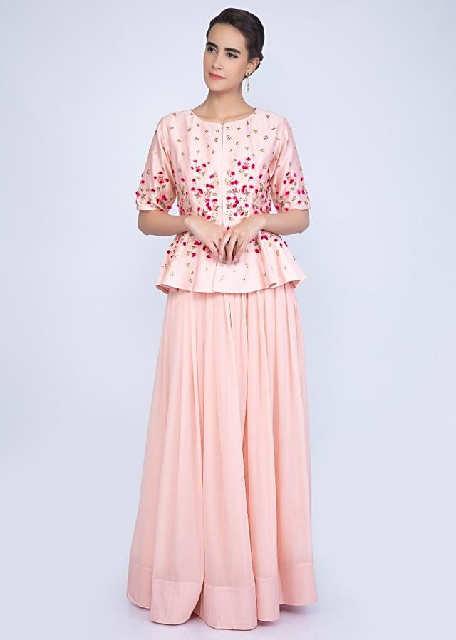 Flamingo Pink Dress In Georgette With Matching Peplum Style Embroidered Jacket Online - Kalki Fashion