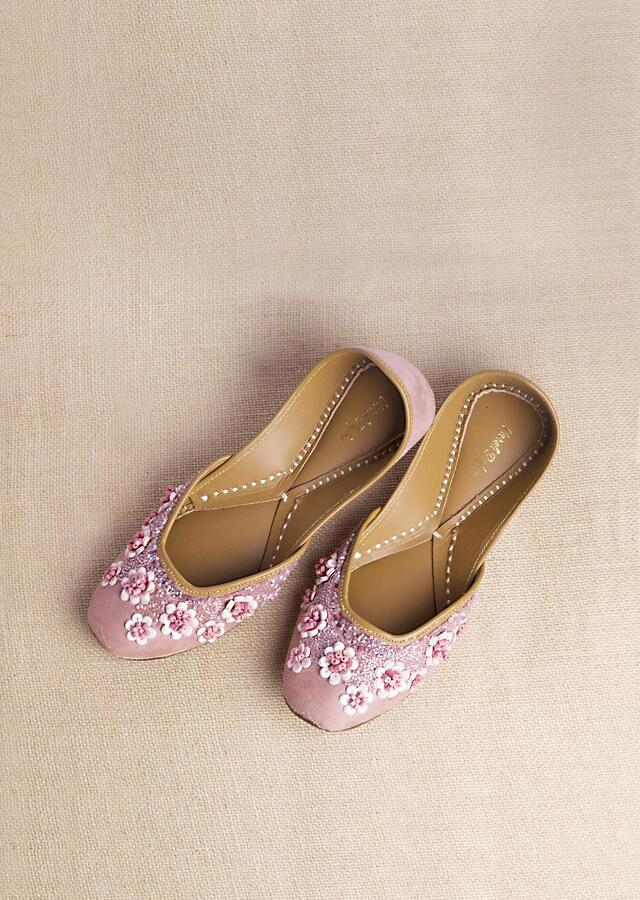 Flamingo Pink Juttis In Suede Embroidered With Wooden And Acrylic Beads Along With Matte Sequins In Floral Motifs By Vareli Bafna