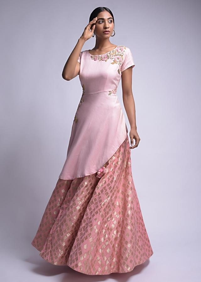 Flamingo Pink Lehenga And Pastel Pink Top With Brocade Buttis And Floral Embroidery Online - Kalki Fashion