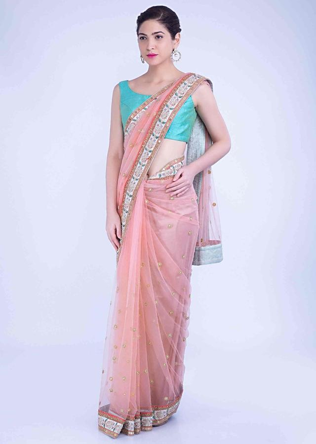 Flamingo Pink Saree In Net With Mint Green Raw Silk Blouse Piece Online - Kalki Fashion