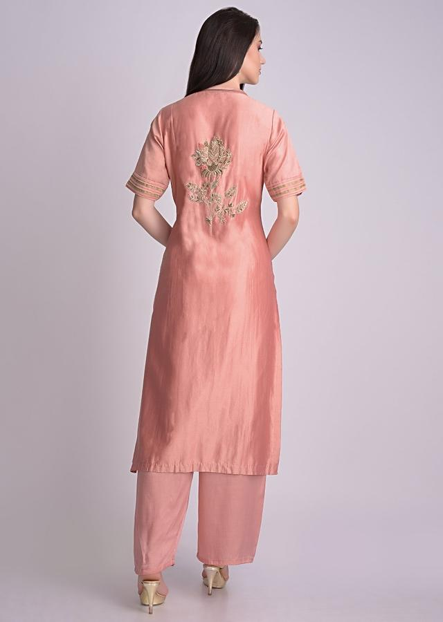 Flamingo Pink Palazzo Suit With Front Slit And Floral Embroidery Online - Kalki Fashion