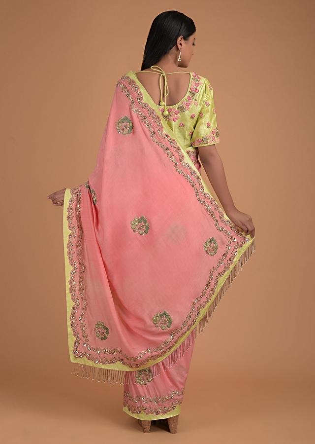 Flamingo Pink Saree In Cotton And Lemon Yellow Blouse With Floral Embroidery Online - Kalki Fashion