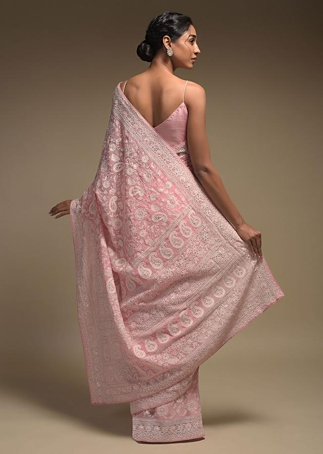 Flamingo Pink Saree In Georgette Adorned With Lucknowi Thread Embroidery In Paisley Jaal Online - Kalki Fashion