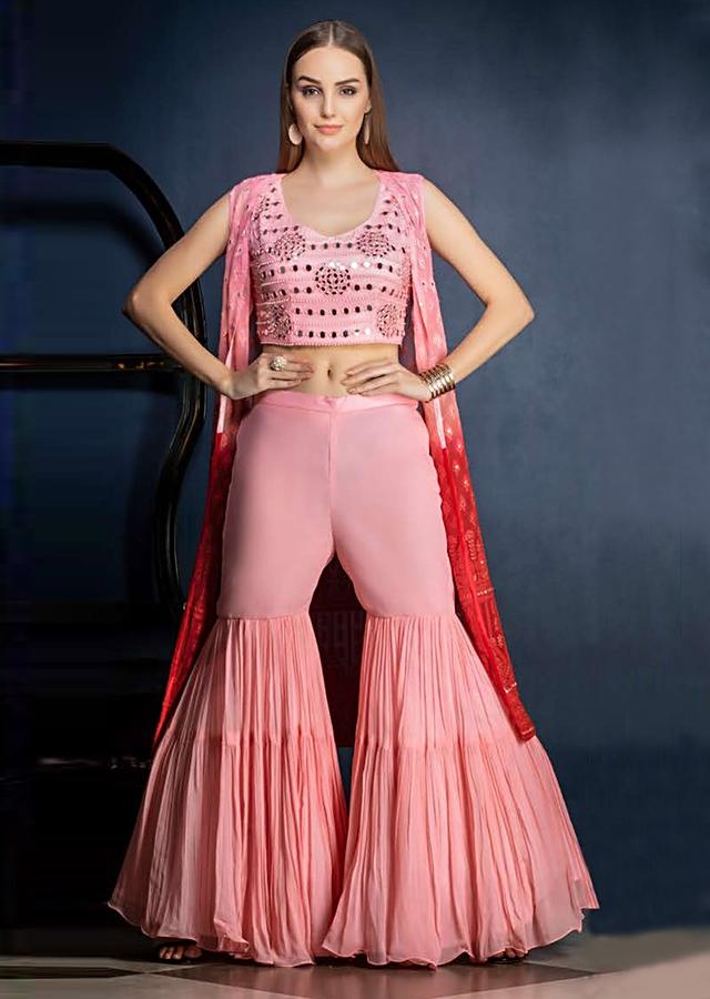 Flamingo Pink Sharara Suit With Mirror Abla Work And Ombre Jacket With Lucknowi Work Online - Kalki Fashion
