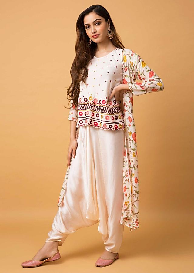 Flamingo Pink Suit With Embroidered Top, Low Crotch Pants And Floral Printed Jacket Online - Kalki Fashion