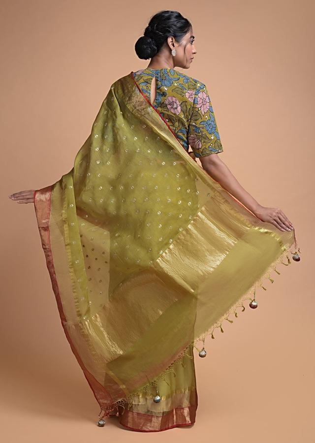 Flax Yellow Saree In Silk With Sequins And Zari Buttis In Leaf Motifs With Floral Printed Blouse Online - Kalki Fashion