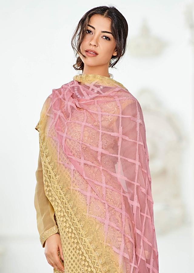 Flax Yellow Straight Cut Suit In Georgette With Lucknowi Thread Work In Floral And Checks Pattern Online - Kalki Fashion