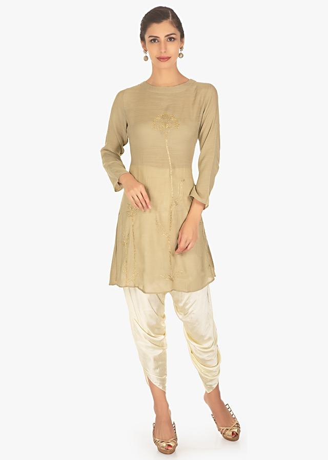 Flaxen Grey Top In Cotton Embellished With Floral And Leaf Motif Online - Kalki Fashion