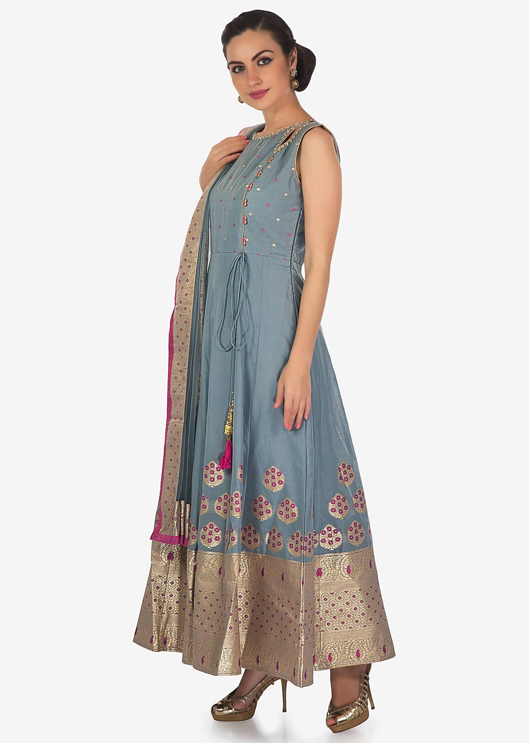 4272fb4df6 Flint grey anarkali suit with brocade hem line only on Kalki