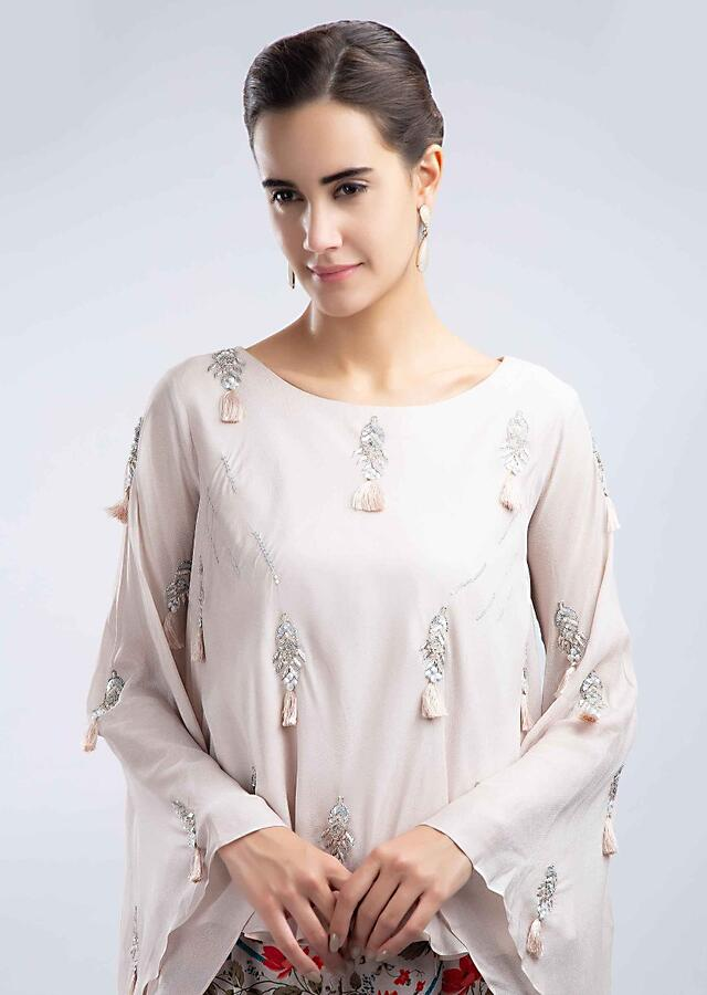 Ivory Dhoti With Printed Floral And Bird Motifs And Blush Pink Shimmer Georgette Top Online - Kalki Fashion