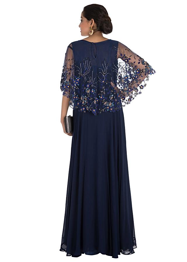 Midnight Blue Cape Gown With Floral Hand Embroidery Online - Kalki Fashion