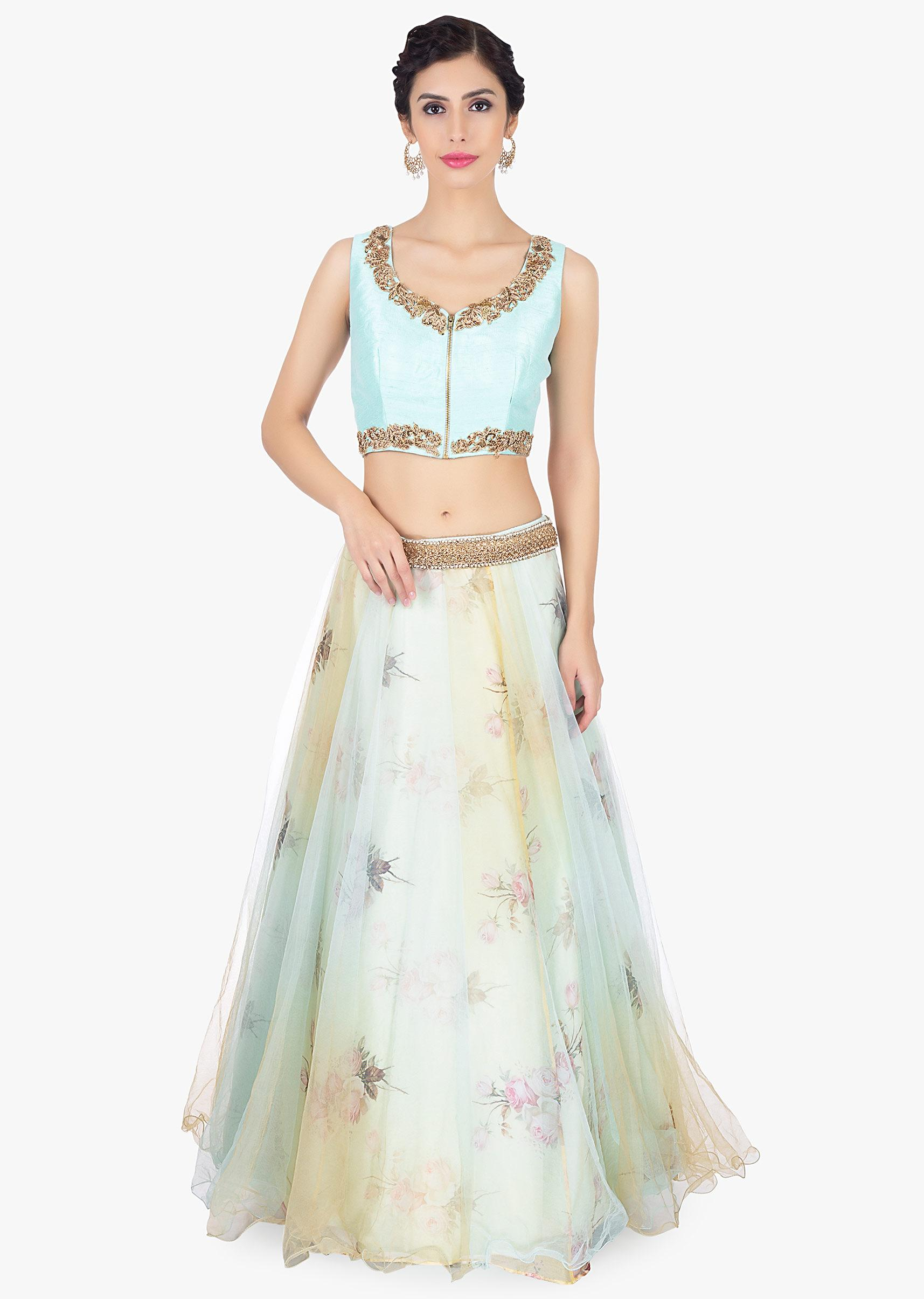 014e4b910 Floral printed organza lehenga with net top layer paired with a mint blouse  and net dupatta ...