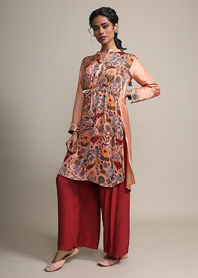 Floral Printed Peach Suit With Contrasting Maroon Palazzo Pants Online - Kalki Fashion