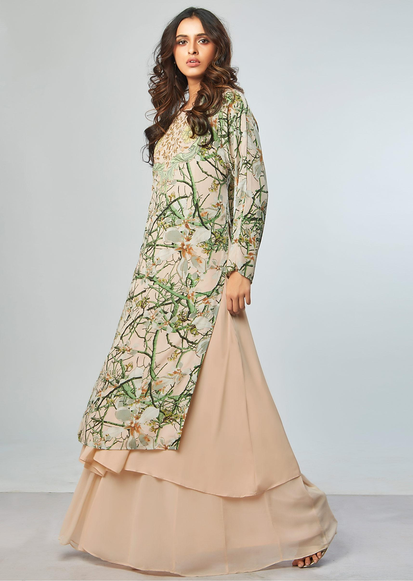 15e8d19226 Floral printed suit with cream beige under layer and flared palazzo only on  Kalki