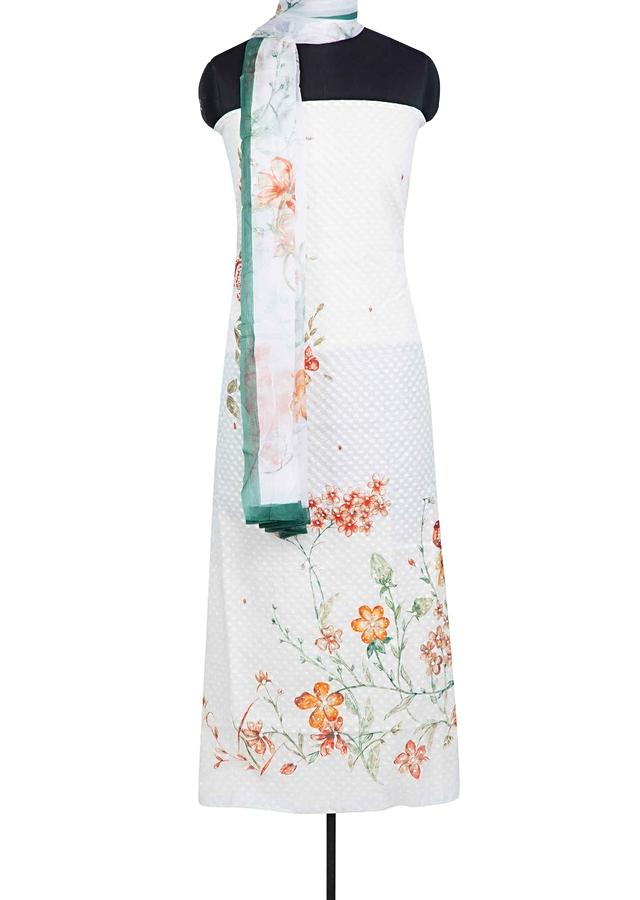 Off White Unstitched Suit In Floral Printed Jacquard Cotton With Green Border Chiffon Dupatta Online - Kalki Fashion