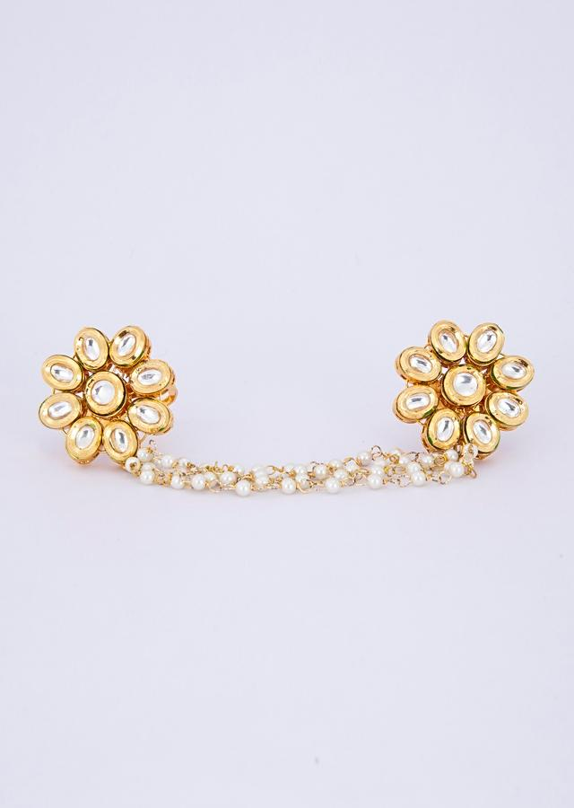 Floral shape polki kundan rings with attached multi layer moti chain only on Kalki