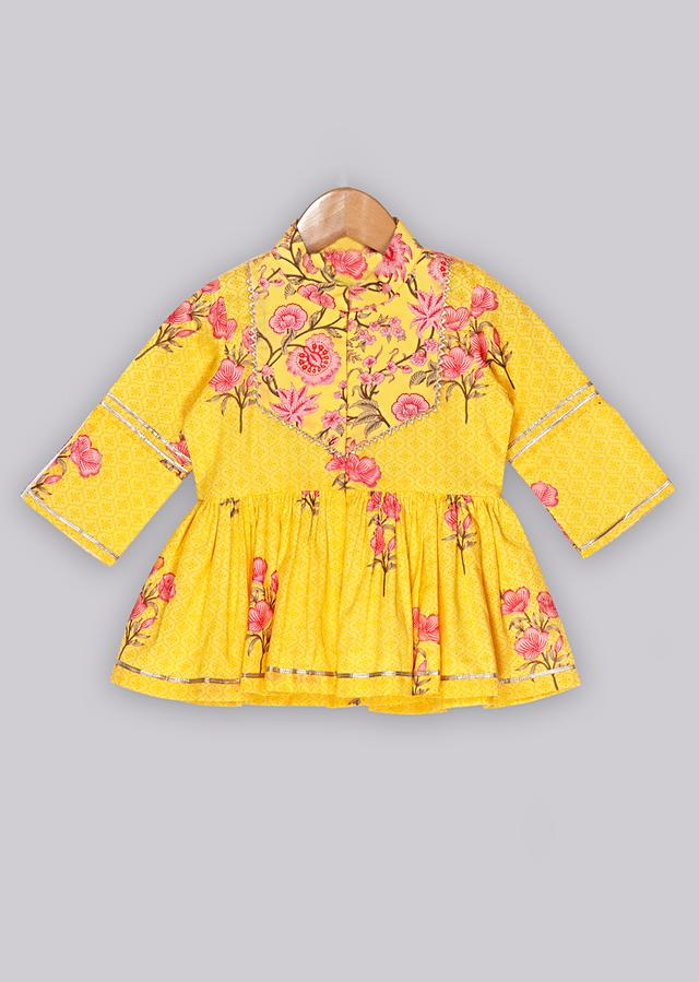 Floral printed yellow peplum top with matching sharara Online - Free Sparrow