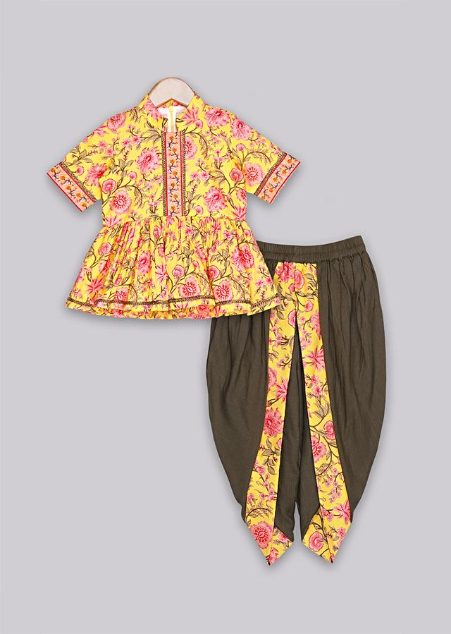 Floral printed yellow peplum top with olive dhoti pant Online - Free Sparrow