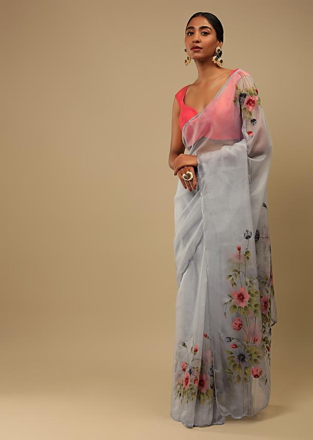 Fog Blue Saree In Organza With Floral Print On The Border And Pallu Along With Sequin Highlights Online - Kalki Fashion
