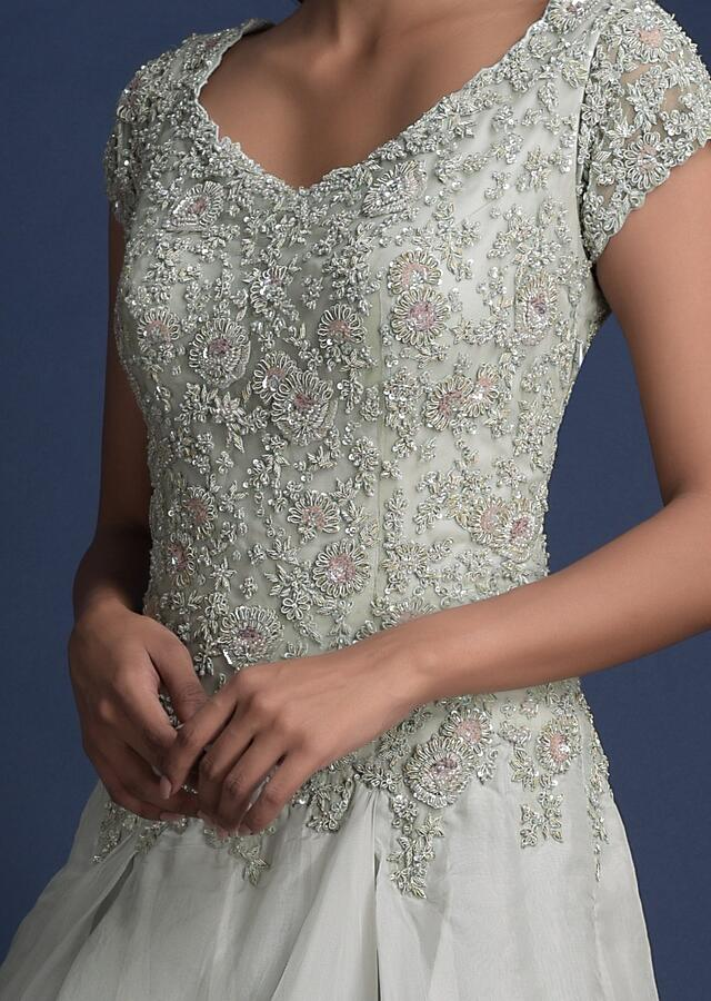 Fog Grey Indowestern Gown In Organza With Asymmetric Cut Layers Online - Kalki Fashion