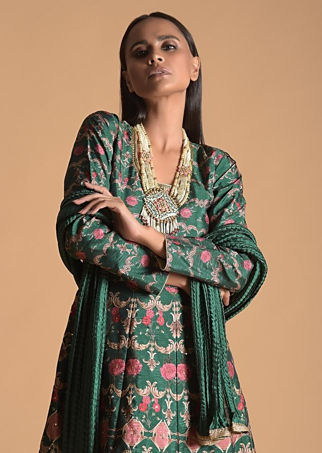 Forest Green Anarkali Suit In Raw Silk With Floral Heritage Print And Sequins Highlights Online - Kalki Fashion