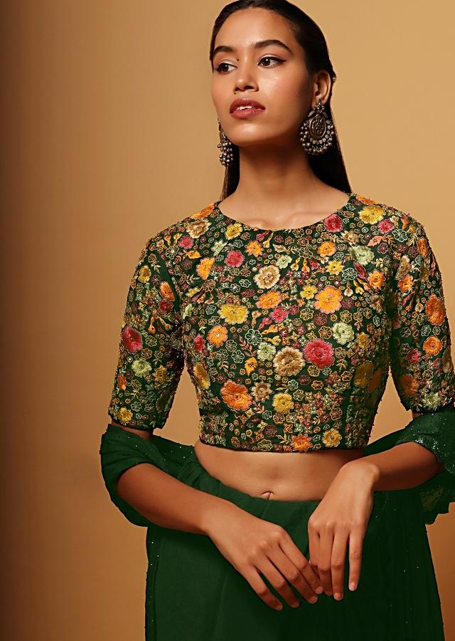 Forest Green Crop Top Blouse In Raw Silk Heavily Embroidered With Colorful Resham Work In Floral Design All Over Online - Kalki Fashion