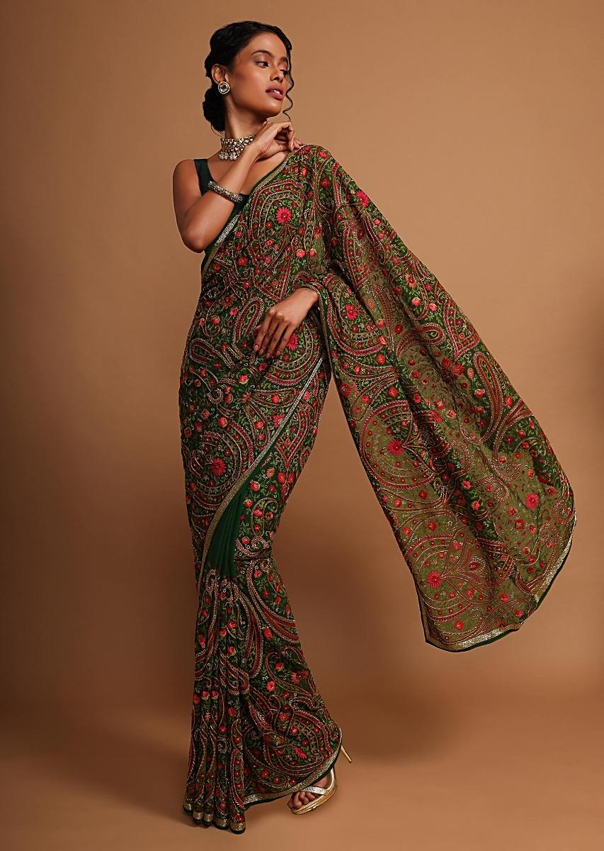Forest green georgette saree with floral jaal embroidery Online - Kalki Fashion