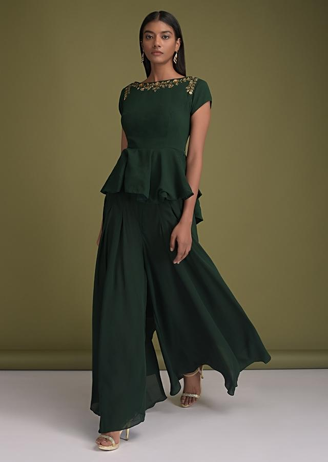 Forest Green Palazzo Suit In Crepe And Matching Peplum Top With High Low Hem And Floral Embroidery Online - Kalki Fashion