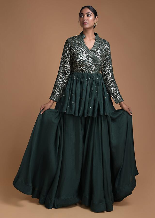 Forest Green Peplum Top And Flared Palazzo Pants With Sequins Work Online - Kalki Fashion
