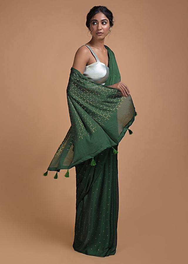 Forest Green Saree In Chiffon With Badla Work All Over Online - Kalki Fashion