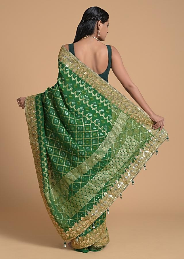 Forest Green Saree In Georgette With Brocade Woven Mesh And Bandhani Design Online - Kalki Fashion