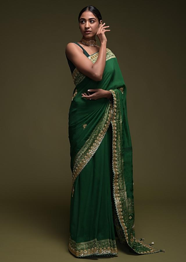 Forest Green Saree In Crepe Silk Blend With Gotta Patti Embroidered Buttis And Woven Border Online - Kalki Fashion