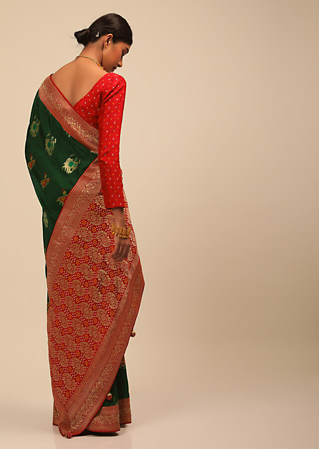 Forest Green Saree In Silk With Elephant And Bird Motifs And Red Brocade Bandhani Pallu And Border Along With Unstitched Blouse Online - Kalki Fashion