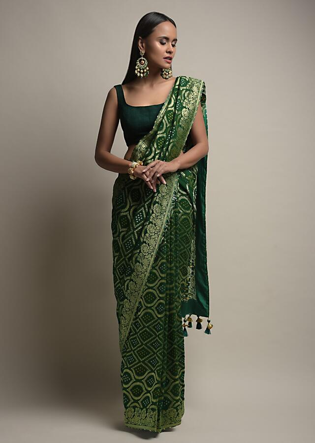 Forest Green Saree With Woven Jaal And Bandhani Along With Unstitched Blouse Online - Kalki Fashion