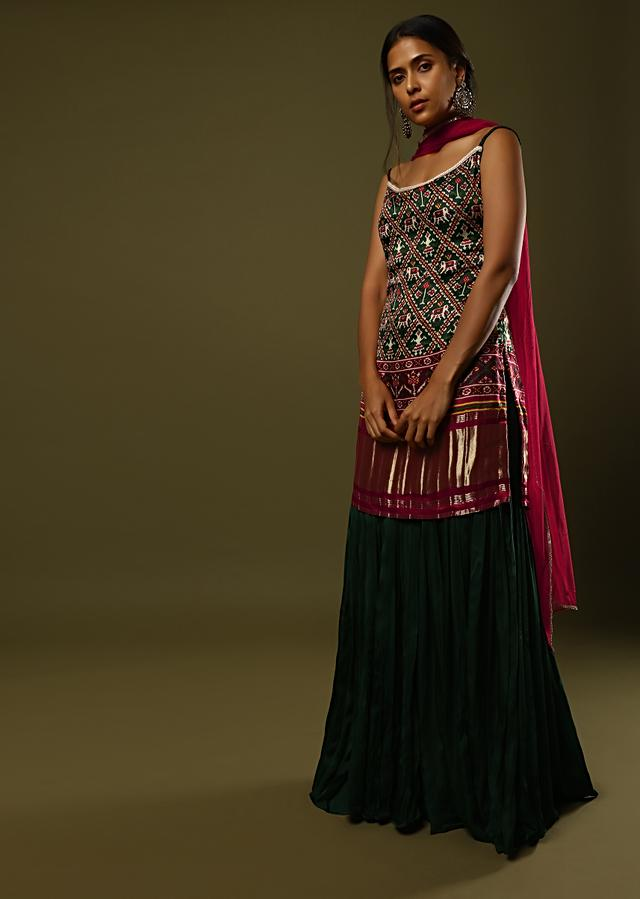 Forest Green Sharara Suit In Satin Blend With Patola Print And Brocade Border Online - Kalki Fashion
