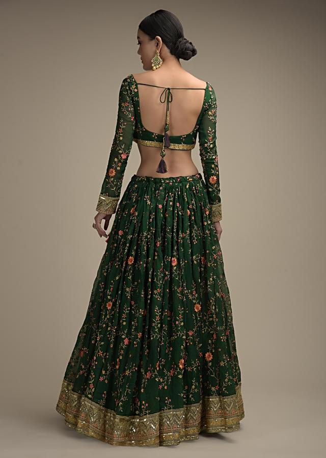 Forest Green Lehenga Choli In Organza With Colorful Resham Embroidered Floral Jaal And Sequins Border Online - Kalki Fashion