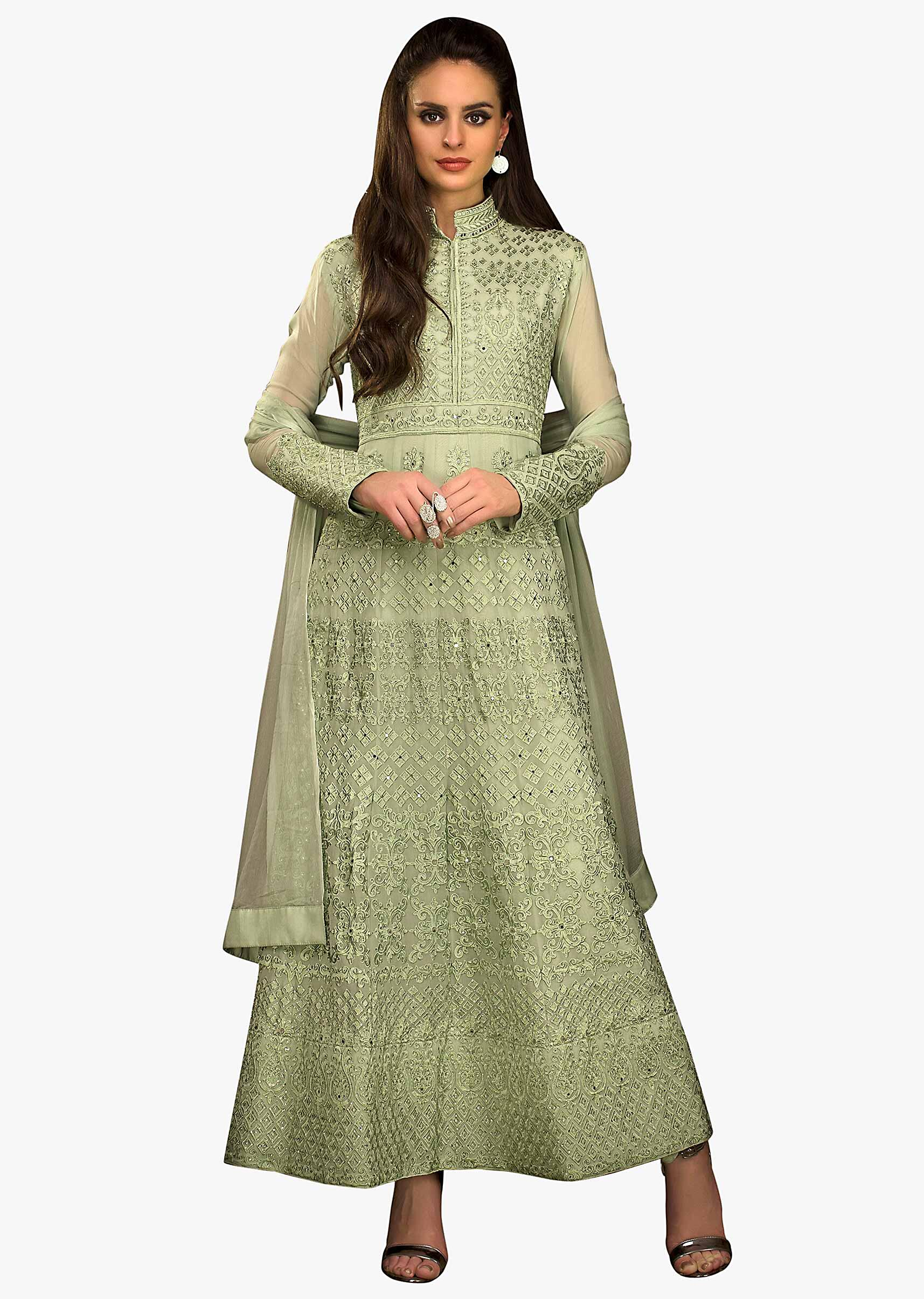 6354a0729c Forest green A line suit in georgette with resham and kundan embroidery