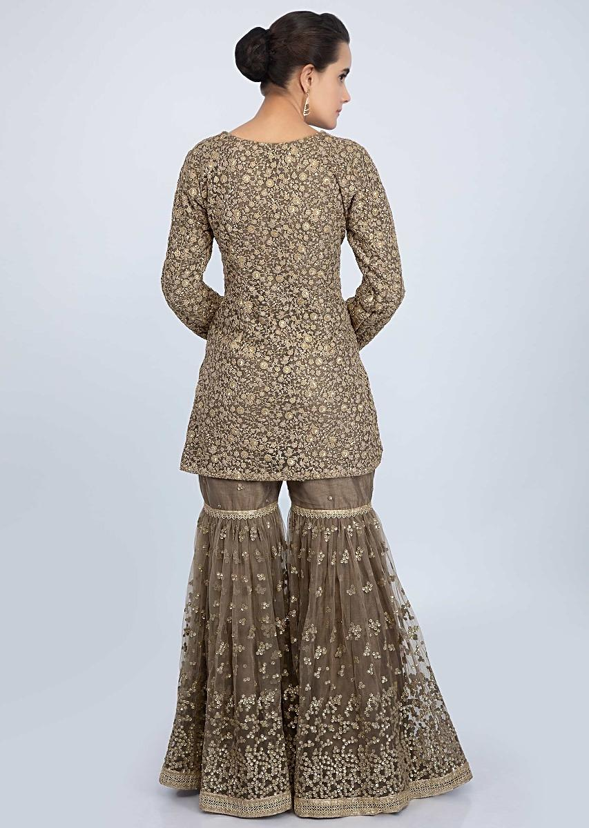 75f8fc8315 Fossil Green Net Jaal Embroidered Sharara Suit Set Only On Kalki