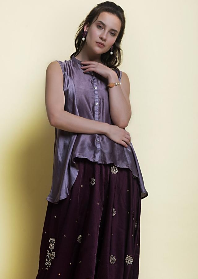 Fossil Grey High Low Top With Contrasting Plum Embroidered Dhoti Online - Kalki Fashion