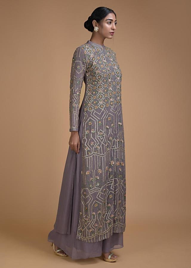 Fossil Grey Palazzo Suit With Sequins And Thread Work In Floral And Geometric Pattern Online - Kalki Fashion