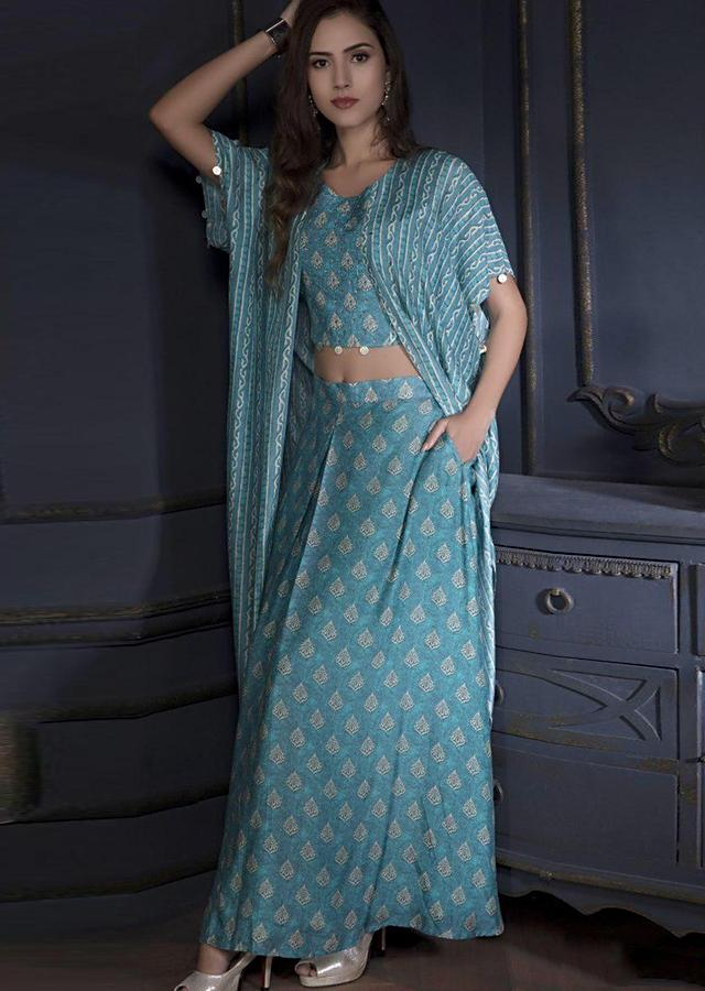Fountain Blue Skirt And Crop Top With Printed Buttis And Attached Kaftan Jacket Online - Kalki Fashion